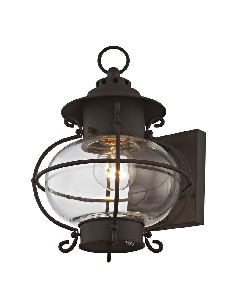 Livex Lighting 5033-01 Flush Mount with Hand Blown Clear Glass Shades Antique Brass