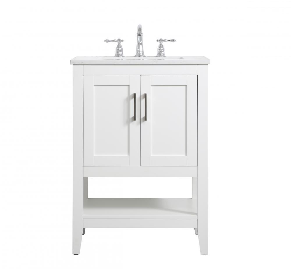 24 Inch Single Bathroom Vanity In White Vf16024wh Aura Lighting